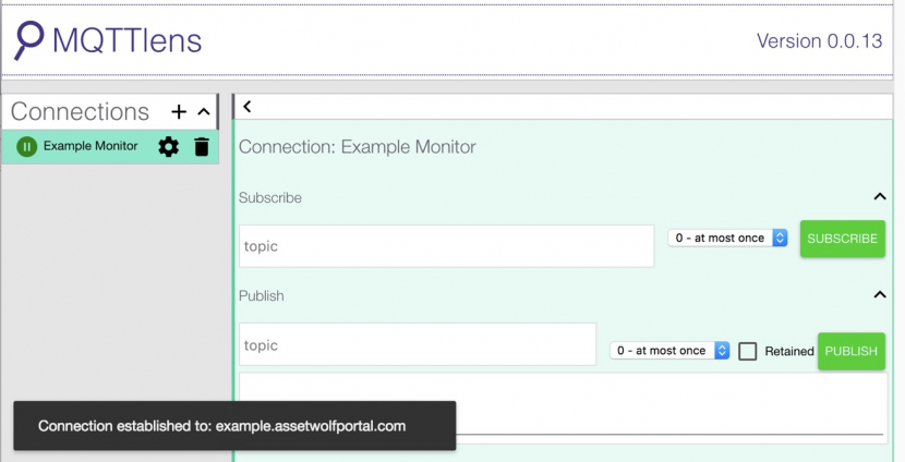 Using the MQTT Monitor to view messages to the MQTT broker
